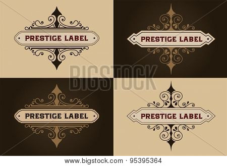 Set Logos template. Brand sign, identity for Restaurant, Royalty, Boutique, Hotel, Heraldic, Jewelry, Fashion and other vector illustration. Calligraphic elegant ornament lines