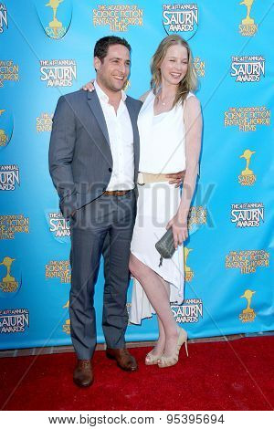 BURBANK - JUNE 25: Michael Kewshaw and Rachel Nichols arrive at the 41st Annual Saturn Awards on Thursday, June 25, 2015 at the Castaway Restaurant in Burbank, CA.