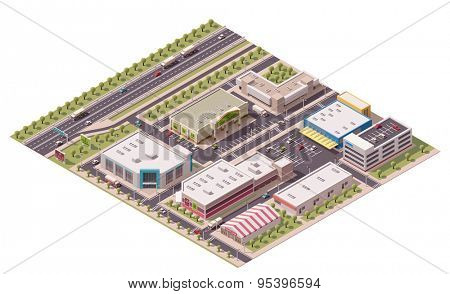Vector isometric shopping district with shops and parking lots