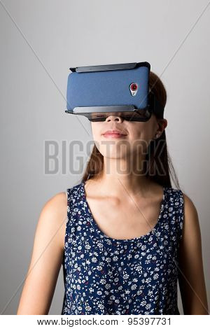 Young woman using the VR goggle