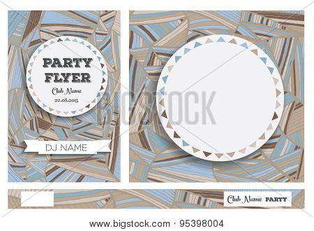 Club Flyers with copy space and hand drawn pattern. Vector illustration
