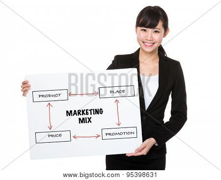 Businesswoman holding a board showing business mix concept