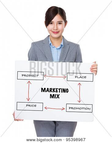 Asian businesswoman holding a banner presenting business mix concept