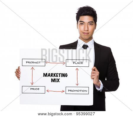 Businessman holding a poster showing business mix concept