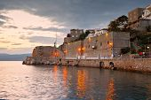 stock photo of hydra  - Seafront and mouth of the harbor in the town of Hydra - JPG