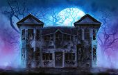 stock photo of tree house  - Old wooden grungy dark evil haunted house with evil spirits with full moon cold fog atmosphere and trees illustration - JPG