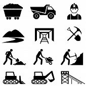 stock photo of mines  - Mining and mine worker icon set in black - JPG