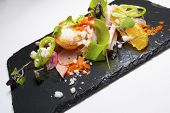 image of scallops  - Chicken salad with scallop and seasonal fruit - JPG