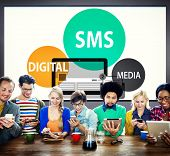 stock photo of sms  - SMS Digital Media Message Chatting Communication Concept - JPG