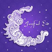 picture of crescent-shaped  - Beautiful artistic floral design decorated sticker - JPG