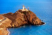 picture of lighthouse  - Almeria Cabo de Gata lighthouse aerial in Mediterranean sea of Spain - JPG