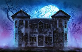 picture of scary haunted  - Old wooden grungy dark evil haunted house with evil spirits with full moon cold fog atmosphere and trees illustration - JPG