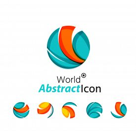 stock photo of logo  - Abstract geometric business corporate emblem globe - JPG