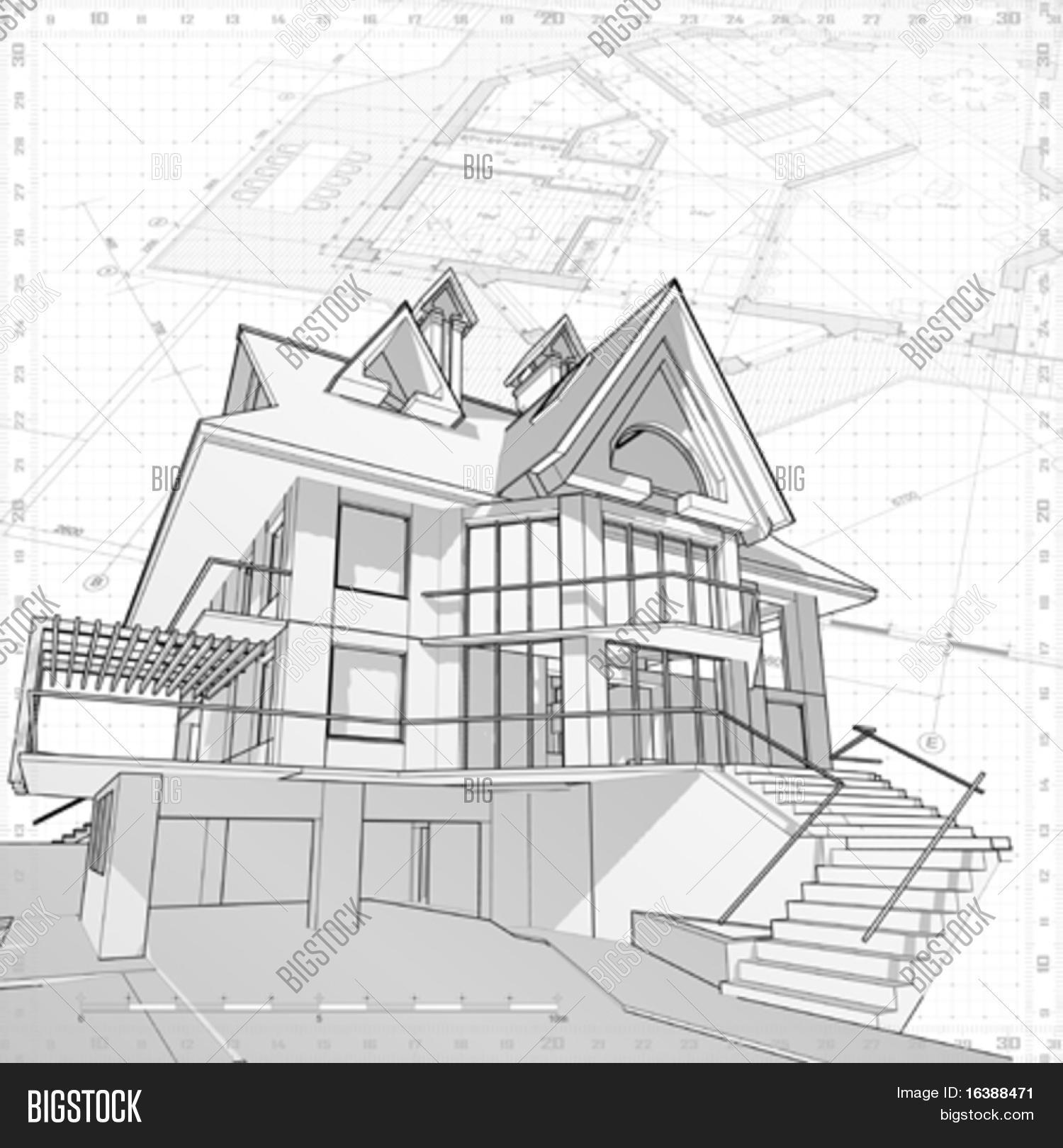 Delightful 3d House Vector Technical Draw Stock Vector Stock Draw Your House In 3d