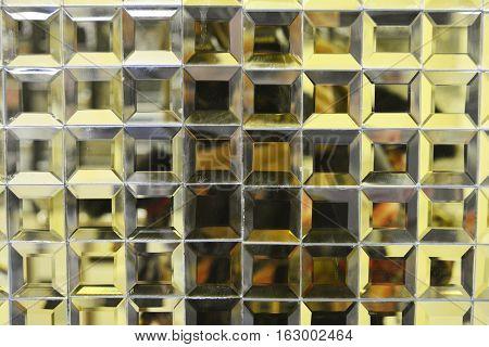 texture of the glass lined square mosaic, decorative material