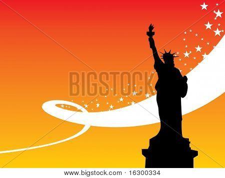 NY sunset background