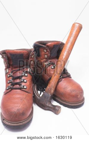 Work Boots And Hammer