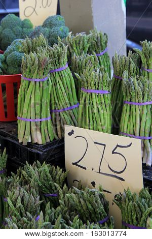 Bunches of fresh picked asparagus on sale at local farmers market