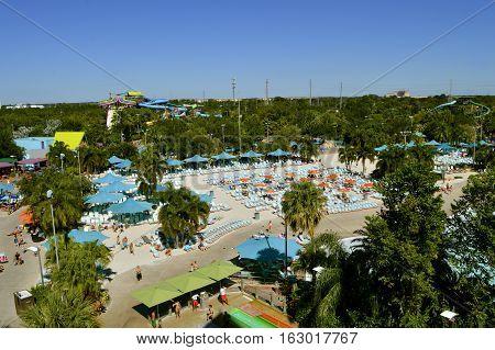 Aquatica water park Orlando Florida USA - October 23 2016: An aerial view of Aquatica theme park in Orlando