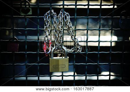 The close-up of Love locks at the fence of the Hohenzollern Bridge in Cologne.