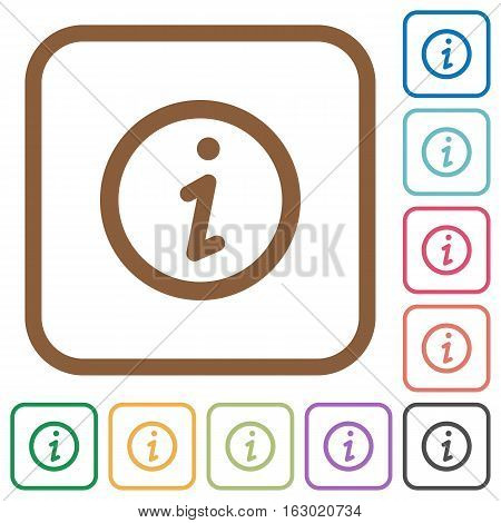 Information simple icons in color rounded square frames on white background