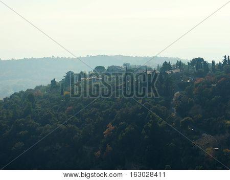 View to the Gordes hilltop village in France. Provence-Alpes-Cote d'Azur region