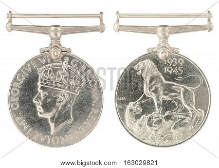 1939-1945 General Service Medal inscription GEORGIVS VI D G BR OMN REX ET INDIAE IMP no ribbon isolated on white with clippimg path