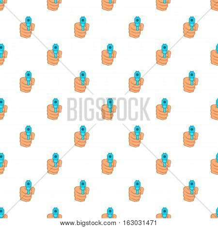 Hand with gun pattern. Cartoon illustration of hand with gun vector pattern for web