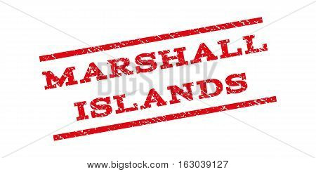 Marshall Islands watermark stamp. Text tag between parallel lines with grunge design style. Rubber seal stamp with dust texture. Vector red color ink imprint on a white background.