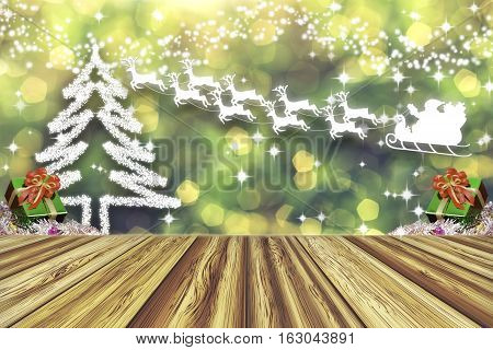 Perspective wood empty table. Christmas tree and present boxes in winter with snowy. Abstract lights blurred bokeh background. Santa Claus on sleigh with reindeer for christmas and new year background