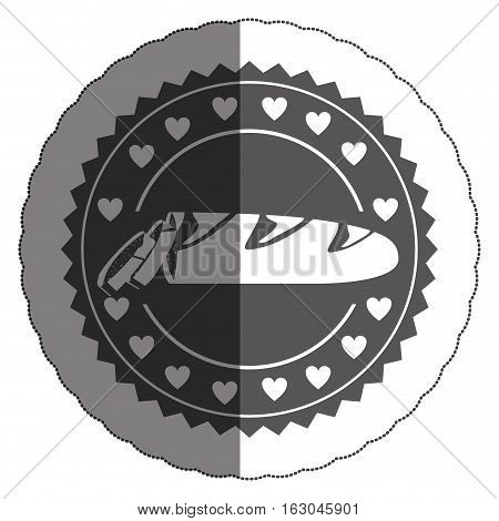Baguette inside seal stamp  icon. Bakery food shop traditional and product theme. Isolated design. Vector illustration