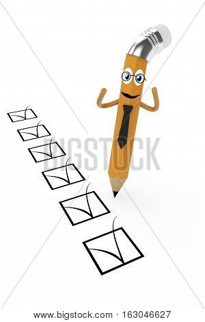 Cartoon Pencil with Check List on a white background. 3d Rendering