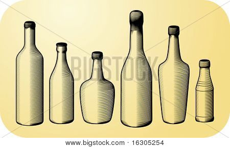 Collection of gravure bottles
