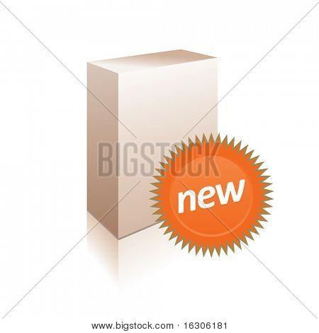 White box with sticker