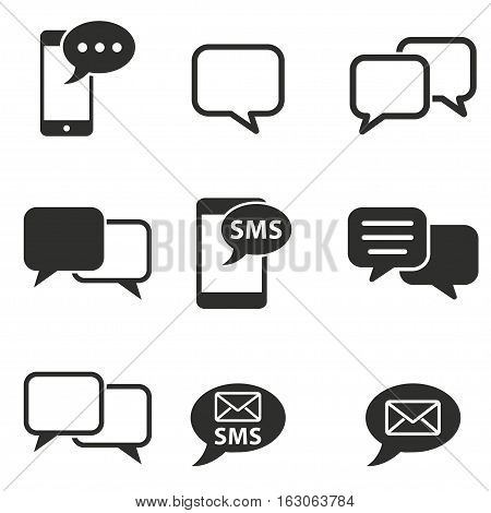 SMS vector icons set. Black illustration isolated on white background for graphic and web design.