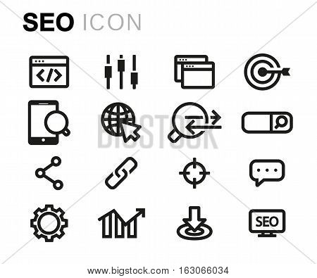 Vector line seo icons set on white background