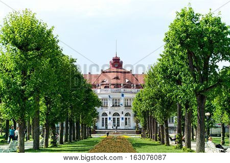KARLOVY VARY, CZECH REPUBLIC - MAY 13, 2016: SPA 5 with a garden