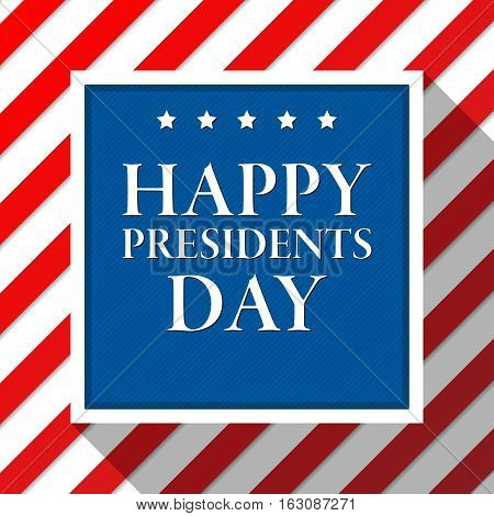 Presidents day vector background. Colors of american flag. USA patriotic template. Illustration with text stripes and stars for posters flyers. Decoration for national celebration.