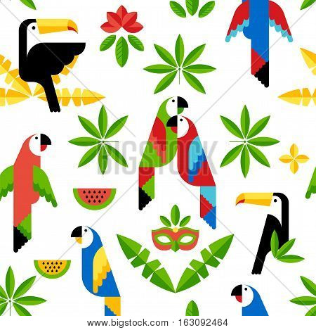 Seamless tropical pattern with birds. Vector. Toucan and parrots.