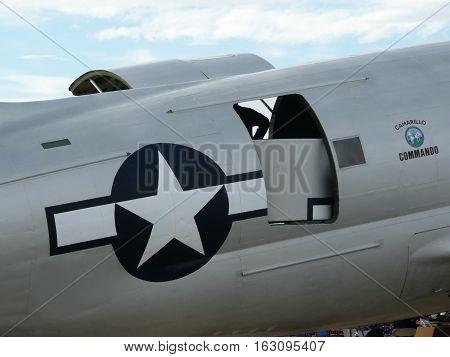 n-us-nv  Nellis AFB, Nevada - 2007-11-11:  Military Air Show - Curtiss C-46 Commando Cargo Plane