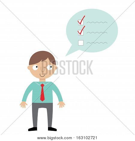 Cartoon businessman planning his day, isolated, illustration