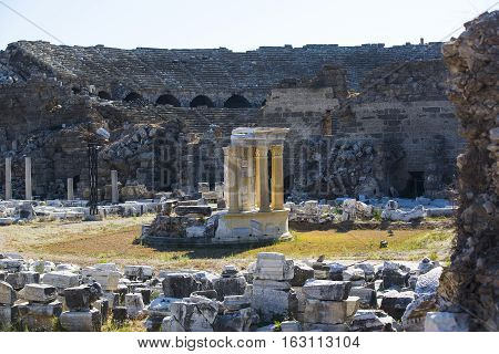Ruins of the ancient city of Side and the Amphitheatre