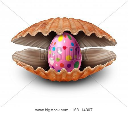 Easter egg surprise discovery as a pearl in an open sea shell as a metaphor for a rare spring egg hunt treasure and fortune as a seashell with a valuable natural precious oval inside on a white background.