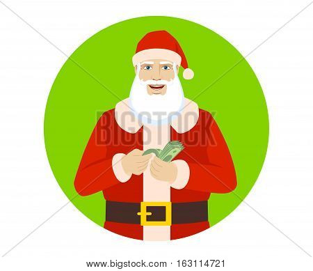 Santa Claus with money. Santa Claus counts the money. Portrait of Santa Claus in a flat style. Vector illustration.