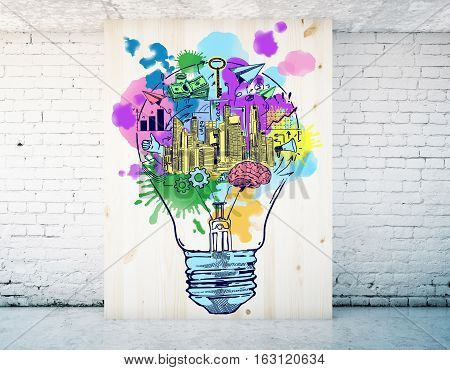 Wooden board with colorful lamp sketch in white brick room. Business idea concept. 3D Rendering
