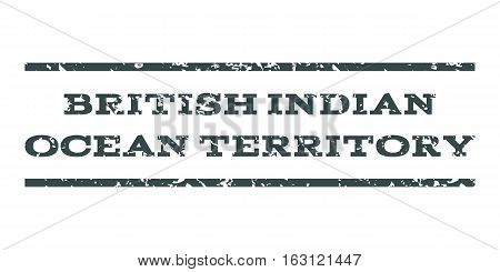 British Indian Ocean Territory watermark stamp. Text caption between horizontal parallel lines with grunge design style. Rubber seal stamp with dust texture.