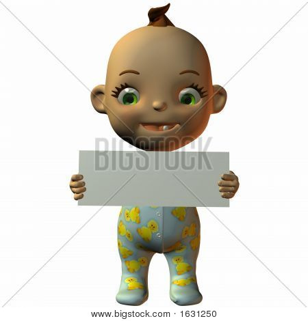 Toon Baby With Sign
