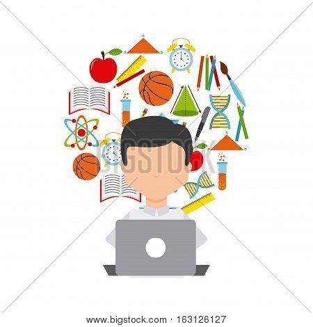 distance education elearning vector icon illustration design