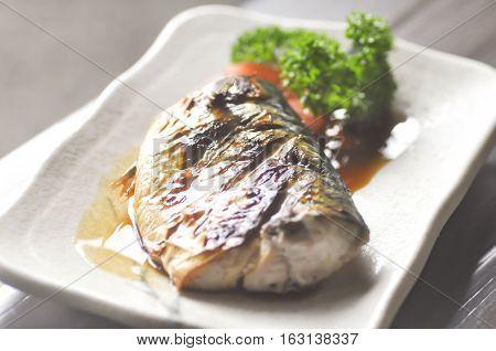 Saba shoyu yaki Grilled Mackerel in japanese food
