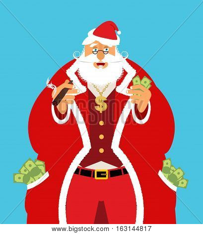 Rich Santa Claus And Lot Of Money. Pocketful Of Cash. Earnings For Christmas. Cool Old Man With Ciga